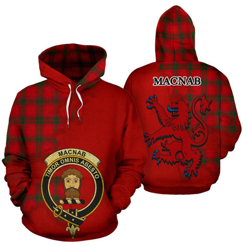 Tartan Hoodie - Clan MacNab Modern Crest & Plaid Hoodie - Scottish Lion & Map - Royal Style