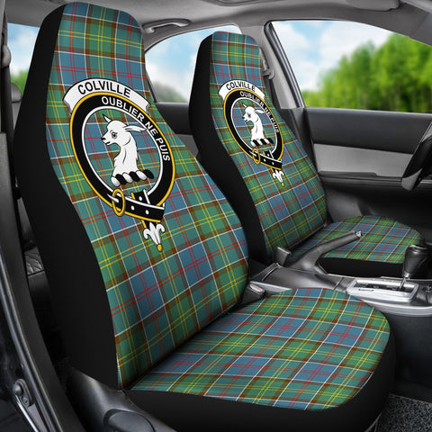 ScottishShop Seat Cover - Tartan Crest Colville Car Seat Cover Clan Badge - Universal Fit
