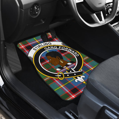 Car Floor Mats - Clan Stirling (Of Keir) Crest And Plaid Tartan Car Mats - 4 Pieces