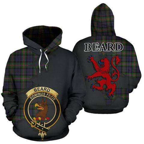 Tartan Hoodie - Clan Beard Crest & Plaid Hoodie - Scottish Lion & Map - Royal Style