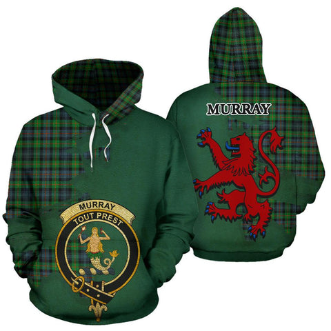 Tartan Hoodie - Clan Murray of Atholl Ancient Crest & Plaid Hoodie - Scottish Lion & Map - Royal Style