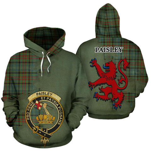 Tartan Hoodie - Clan Paisley District Crest & Plaid Hoodie - Scottish Lion & Map - Royal Style