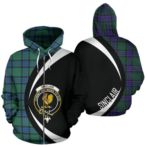 Tartan Zip Up Hoodie - Clan Sinclair Hunting Ancient Zip Up Hoodie - Circle Style Unisex