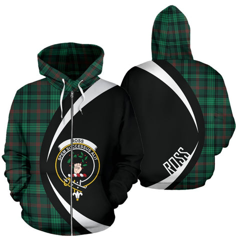 Tartan Zip Up Hoodie - Clan Ross Hunting Modern Zip Up Hoodie - Circle Style Unisex