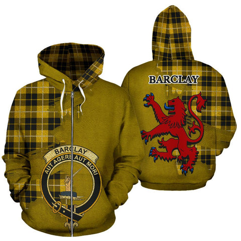 Image of Tartan Hoodie - Clan Barclay Dress Modern Crest & Plaid Zip-Up Hoodie - Scottish Lion & Map - Royal Style