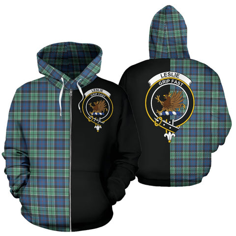 Leslie Hunting Ancient Tartan Zip Up Hoodie Half Of Me - Black & Tartan