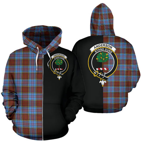 Image of Anderson Modern Tartan Zip Up Hoodie Half Of Me - Black & Tartan