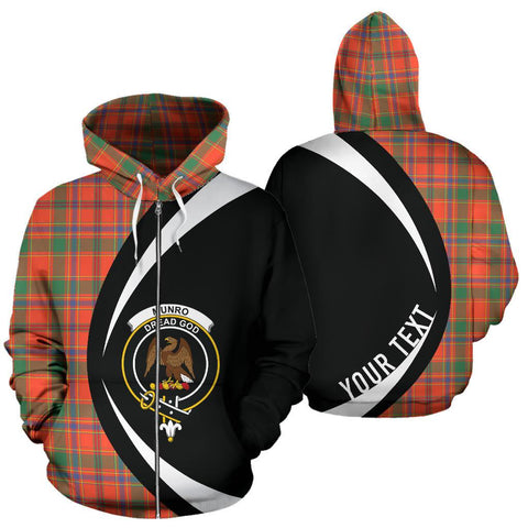 Image of Custom Hoodie - Clan Munro Ancient Plaid Tartan Zip Up Hoodie Design Your Own - Circle Style - Unisex Sizing