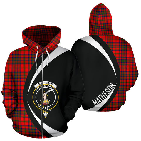 Image of ScottishShop Tartan Zip Up Hoodie - Clan Matheson Modern Hoodie - Circle Style