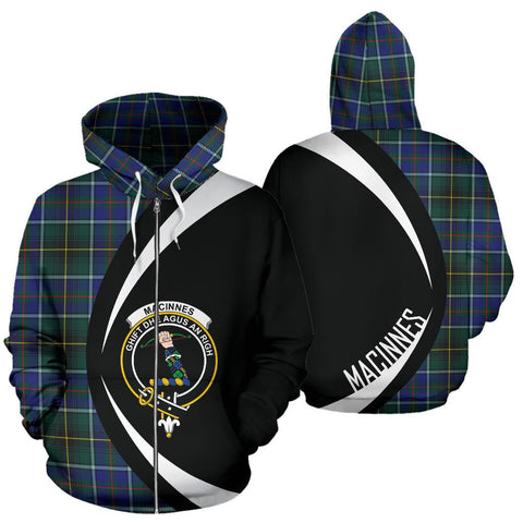Image of ScottishShop Tartan Zip Up Hoodie - Clan Macinnes Modern Hoodie - Circle Style
