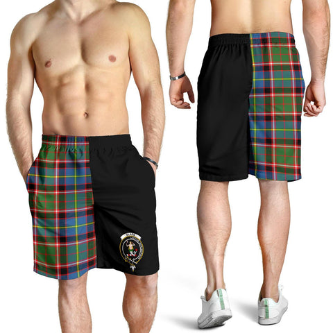 Tartan Mens Shorts - Clan Glass Crest & Plaid Shorts - Half Of Me Style
