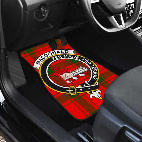 Car Floor Mats - Clan Macdonald Of Sleat Crest And Plaid Tartan Car Mats - 4 Pieces