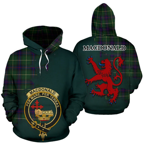 Tartan Hoodie - Clan MacDonald of the Isles Hunting Modern Crest & Plaid Hoodie - Scottish Lion & Map - Royal Style