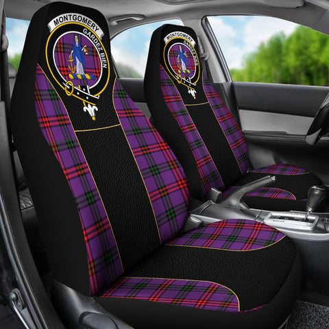 ScottishShop Seat Cover - Tartan Crest Montgomery Tartan Car Seat Cover Clan Badge - Special Version - Universal Fit