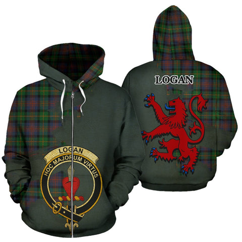 Tartan Hoodie - Clan Logan Ancient Crest & Plaid Zip-Up Hoodie - Scottish Lion & Map - Royal Style
