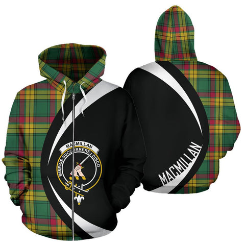 ScottishShop Tartan Zip Up Hoodie - Clan Macmillan Old Ancient Hoodie - Circle Style