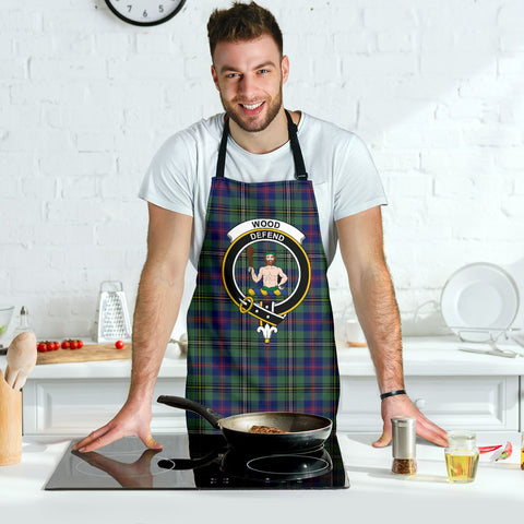 Tartan Apron - Wood Modern Apron With Clan Crest HJ4
