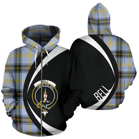 Image of ScottishShop Tartan Zip Up Hoodie - Clan Bell Of The Borders Hoodie - Circle Style