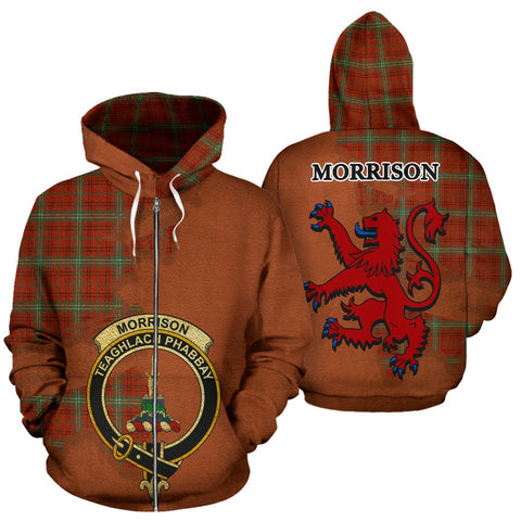 Tartan Hoodie - Clan Morrison Red Ancient Crest & Plaid Zip-Up Hoodie - Scottish Lion & Map - Royal Style