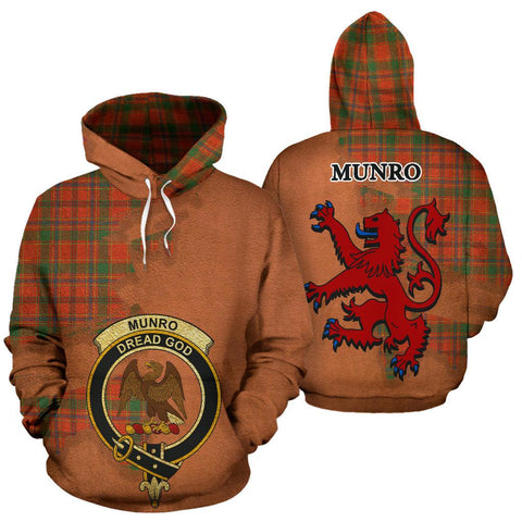 Tartan Hoodie - Clan Munro Ancient Crest & Plaid Hoodie - Scottish Lion & Map - Royal Style
