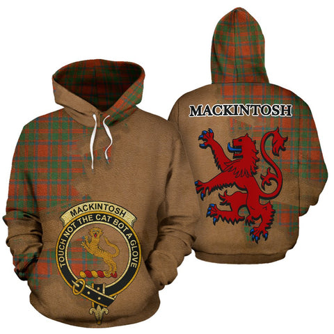 Tartan Hoodie - Clan MacKintosh Ancient Crest & Plaid Hoodie - Scottish Lion & Map - Royal Style