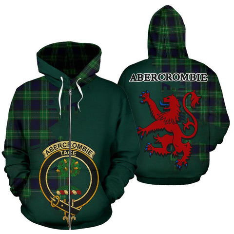 Tartan Hoodie - Clan Abercrombie Crest & Plaid Zip-Up Hoodie - Scottish Lion & Map - Royal Style