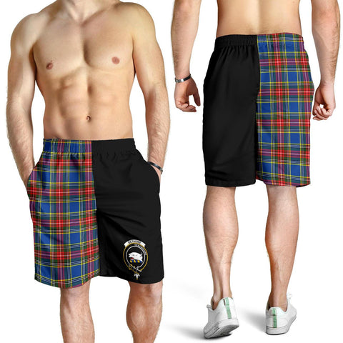 Tartan Mens Shorts - Clan Bethune Crest & Plaid Shorts - Half Of Me Style
