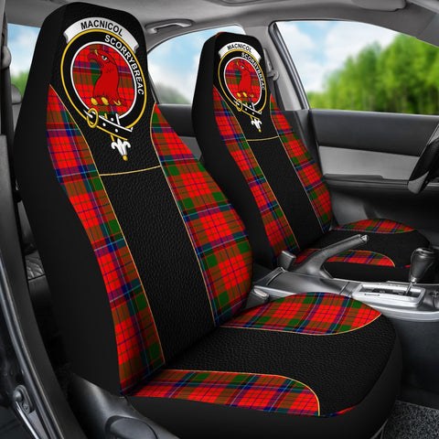 ScottishShop Seat Cover - Tartan Crest Macnicol (Of Scorrybreac) Tartan Car Seat Cover Clan Badge - Special Version - Universal Fit