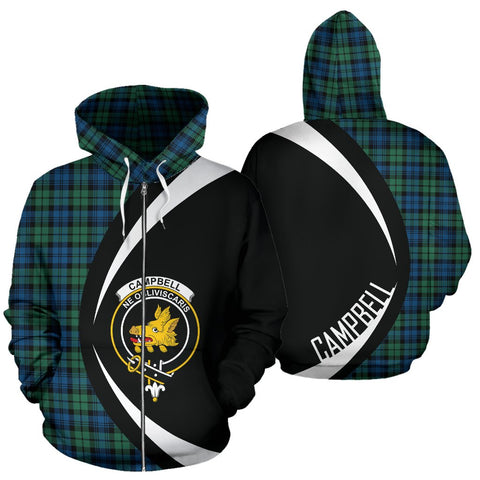 Image of ScottishShop Tartan Zip Up Hoodie - Clan Campbell Ancient 02 Hoodie - Circle Style