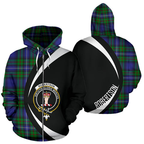 ScottishShop Tartan Zip Up Hoodie - Clan Robertson Hunting Modern Hoodie - Circle Style
