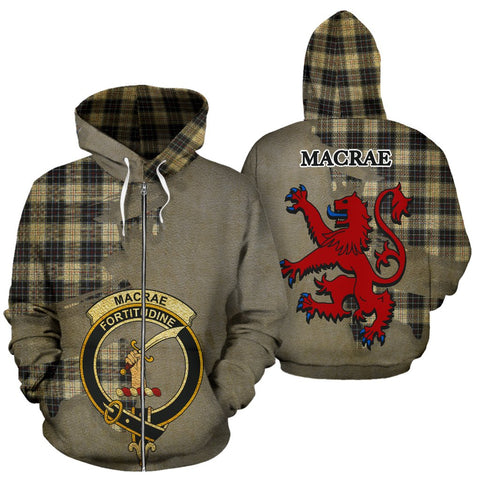 Tartan Hoodie - Clan MacRae Dress Modern Crest & Plaid Zip-Up Hoodie - Scottish Lion & Map - Royal Style