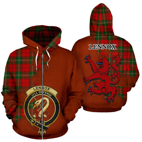 Tartan Hoodie - Clan Lennox Modern Crest & Plaid Zip-Up Hoodie - Scottish Lion & Map - Royal Style