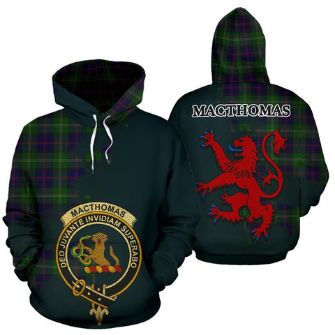 Tartan Hoodie - Clan MacThomas Modern Crest & Plaid Hoodie - Scottish Lion & Map - Royal Style