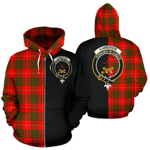 Custom Hoodie - Clan Cameron Modern Plaid Tartan Zip Up Hoodie Design Your Own - Half Of Me Style - Unisex Sizing