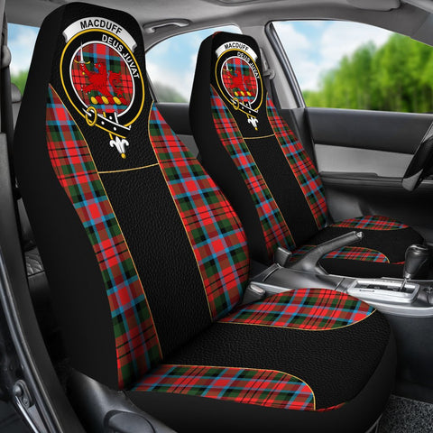 ScottishShop Seat Cover - Tartan Crest Macduff Tartan Car Seat Cover Clan Badge - Special Version - Universal Fit