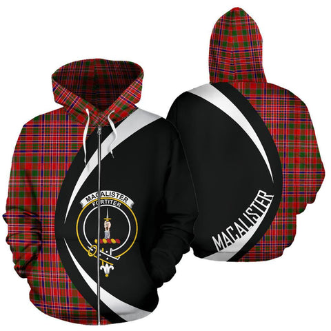 Image of ScottishShop Tartan Zip Up Hoodie - Clan Macalister Modern Hoodie - Circle Style