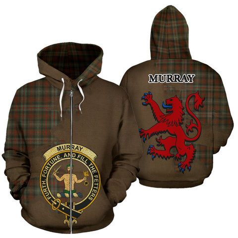 Image of Tartan Hoodie - Clan Murray of Atholl Weathered Crest & Plaid Zip-Up Hoodie - Scottish Lion & Map - Royal Style