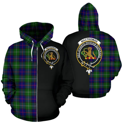 Custom Hoodie - Clan MacThomas Modern Plaid Tartan Zip Up Hoodie Design Your Own - Half Of Me Style - Unisex Sizing
