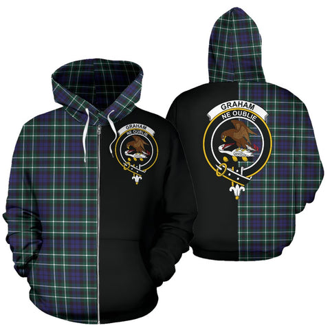 Image of Graham of Montrose Modern Tartan Zip Up Hoodie Half Of Me - Black & Tartan