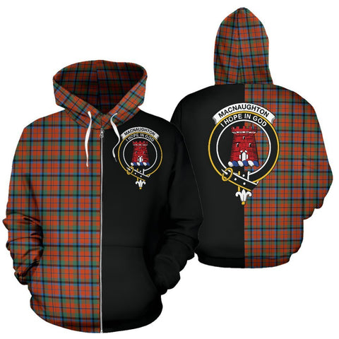 Custom Hoodie - Clan MacNaughton Ancient Plaid Tartan Zip Up Hoodie Design Your Own - Half Of Me Style - Unisex Sizing
