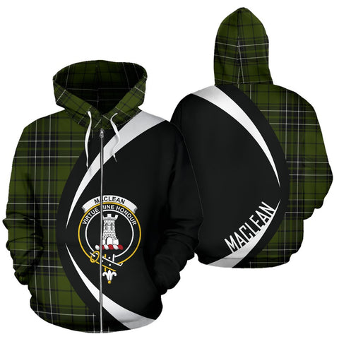 Image of ScottishShop Tartan Zip Up Hoodie - Clan Maclean Hunting Hoodie - Circle Style