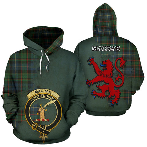Tartan Hoodie - Clan MacRae Hunting Ancient Crest & Plaid Hoodie - Scottish Lion & Map - Royal Style