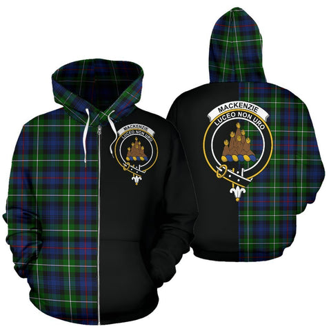 Custom Hoodie - Clan Mackenzie Plaid Tartan Zip Up Hoodie Design Your Own - Half Of Me Style - Unisex Sizing