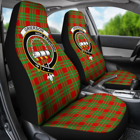 Image of Seat Cover - Tartan Crest Grierson Car Seat Cover - Universal Fit