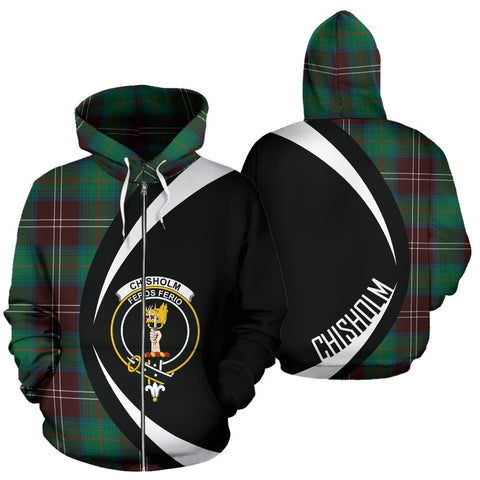 Image of ScottishShop Tartan Zip Up Hoodie - Clan Chisholm Hunting Ancient Hoodie - Circle Style