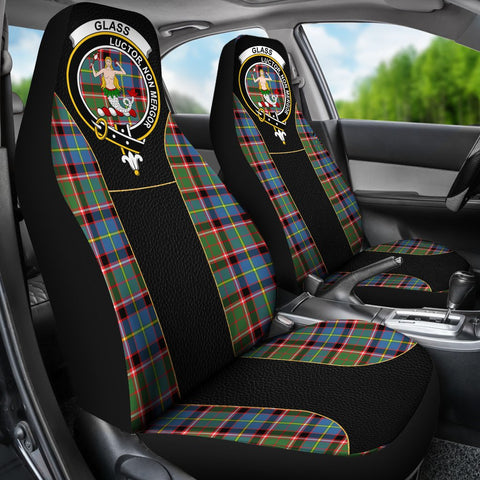 ScottishShop Seat Cover - Tartan Crest Glass Tartan Car Seat Cover Clan Badge - Special Version - Universal Fit