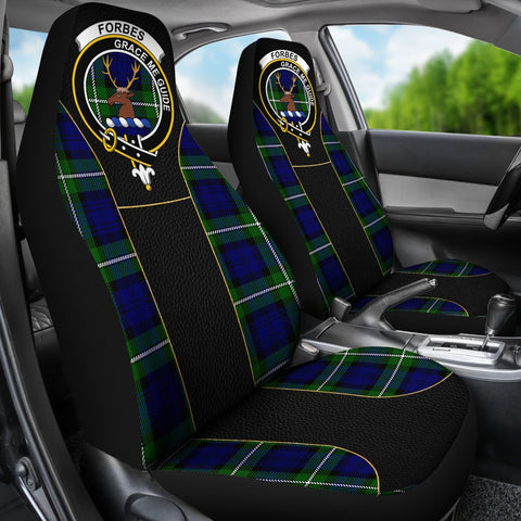 Image of Seat Cover - Tartan Crest Forbes Tartan Car Seat Cover Clan Badge - Special Version - Universal Fit