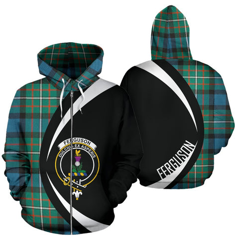 ScottishShop Tartan Zip Up Hoodie - Clan Ferguson Ancient Hoodie - Circle Style