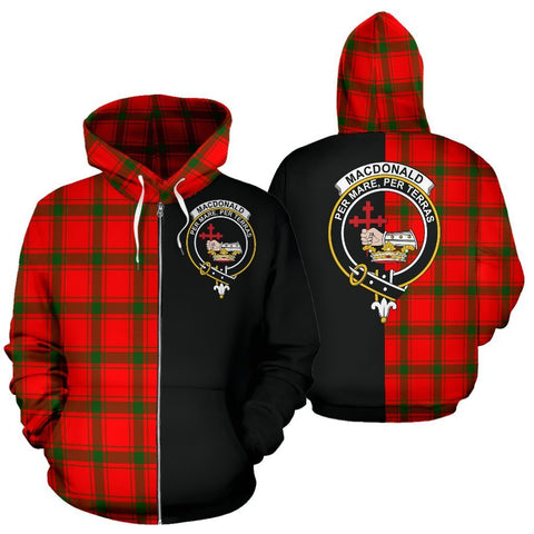 Custom Hoodie - Clan MacDonald of Sleat Plaid Tartan Zip Up Hoodie Design Your Own - Half Of Me Style - Unisex Sizing