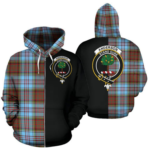 Image of Custom Hoodie - Clan Anderson Ancient Plaid Tartan Zip Up Hoodie Design Your Own - Half Of Me Style - Unisex Sizing